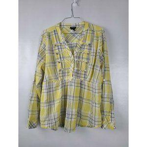 Torrid Yellow White Plaid Blouse Top Size 1X